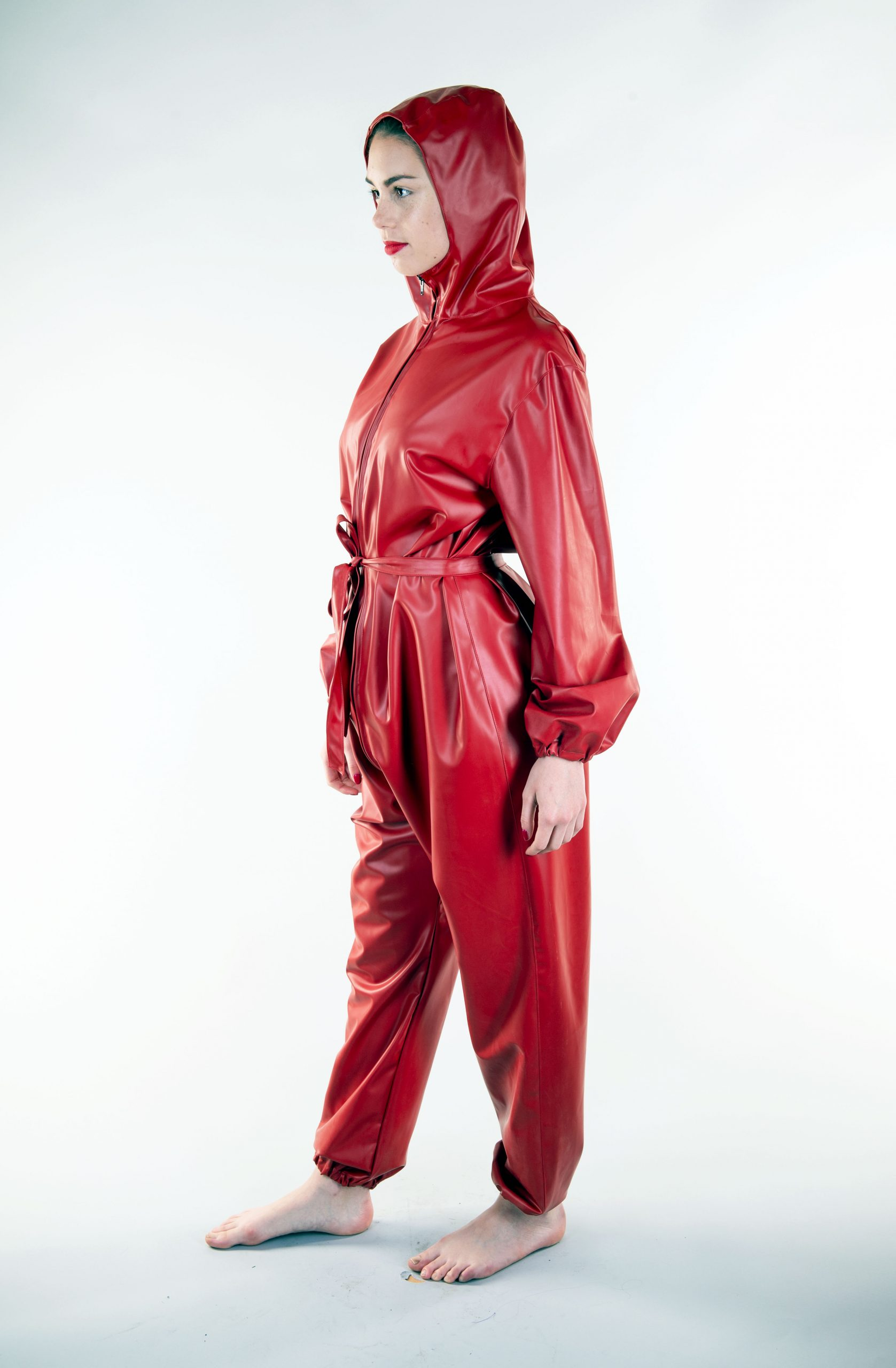 LADIES EXERCISE SUIT with attached hood, tie belt and two way front zip -  Weathervain